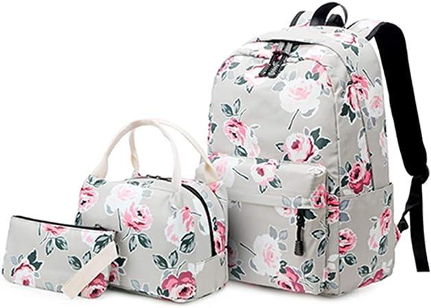 Lienzo Mochila Escolar Grande + Bolso De Hombro + Estuche De Lápices Niñas De La Moda Mochilas Juego De 3 Piezas,C: Amazon.es: Hogar