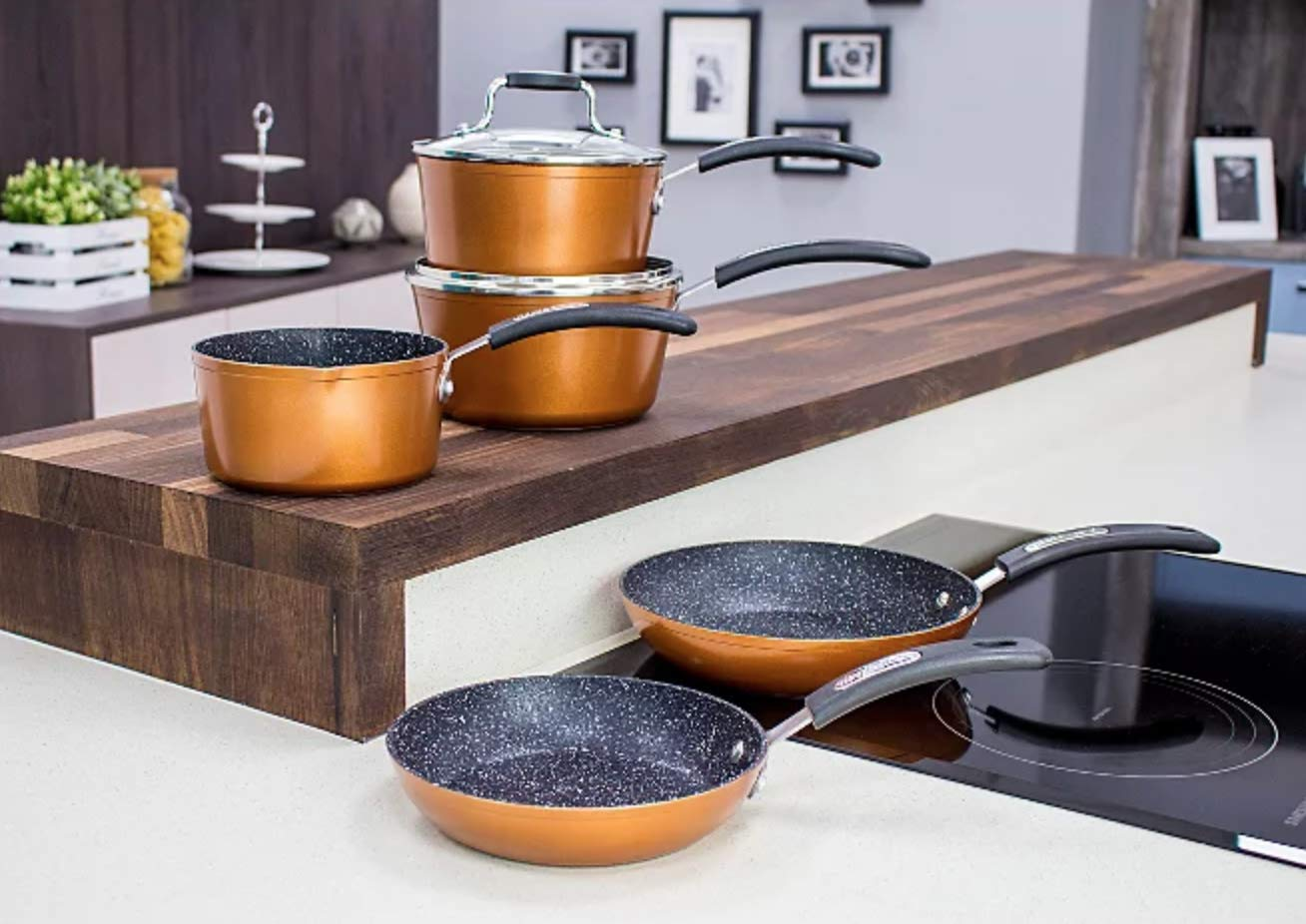 Limited Edition Gold Scoville Neverstick 5 Piece Frying Pan Copper Cookware Set