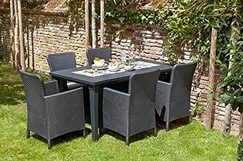 Conjunto Girona: Mesa + 4 sillones: Amazon.es: Jardín