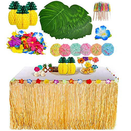 Decoración de Fiesta Tropical Hawaiana con Hojas de Palma Flores Hawaianas Fiesta Tiki