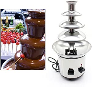 4 Tiers Chocolate Fountain, Hot Chocolate Fondue Fountain Commercial Stainless Steel Luxury Party Wedding Hotel (CA NJ Warehouse)