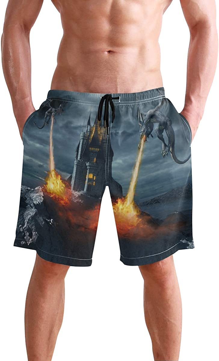 Mens Swim Trunks,Stone Demon Face of Notre Dame Paris Beach Board Shorts with Pockets Casual Athletic Short