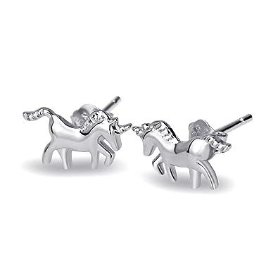 ba00d5859 Sterling Silver Unicorn Stud Earrings for Women Girls,with Gift Box:  Amazon.co.uk: Jewellery