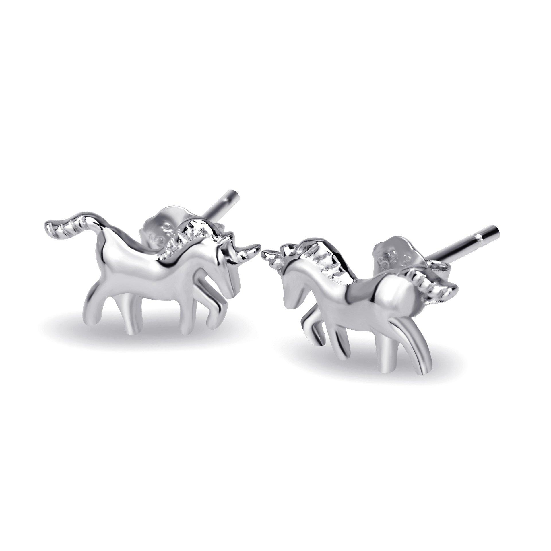 YFN Unicorn Stud Earrings Sterling Silver Earrings Gifts for Daughter Girls Kids Children (unicorn earrings)