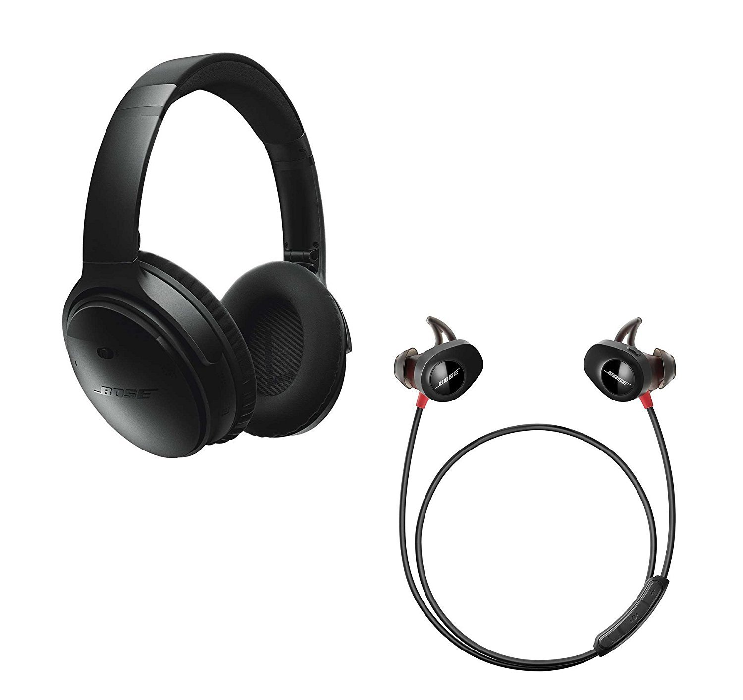 Bose QuietComfort 35 (Series I) Noise Cancelling Over-ear (Black) & SoundSport Pulse In-ear (Red) Wireless Bluetooth Headphone Bundle