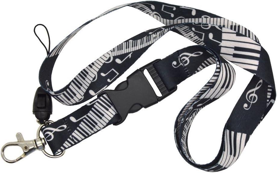 Piano Keys Lanyard Keyring strap key black and white