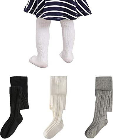 GSKS Baby Tights Girls Infant Toddler Cable Knit Cotton Leggings Pants with Bow
