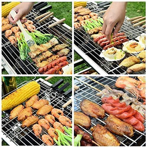 Brochettes de Barbecue, bâtonnets de Kabab avec poignée en Bois, brochettes de métal réutilisables en Acier Inoxydable pour Pique-Nique Barbecue