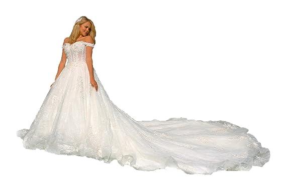 Luxus Brautkleid Hochzeitskleid NEU Braut Spitze Schleppe Prinzessin ...