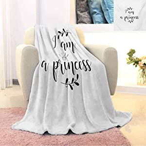 GGACEN I am a Princess Comfortable Large Blanket Monochrome Hand Writing Style Quote with Olive Branch Good Life Theme Microfiber Blanket Bed Sofa or Travel W80 x L60 Inch Black and White