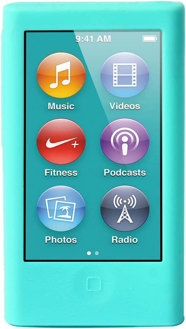ColorYourLife iPod Nano Silicone Cases Skins Covers for New iPod Nano 8th Generation 7th Generation with 1 Screen Protector and Cleaning Wipe (Aqua)