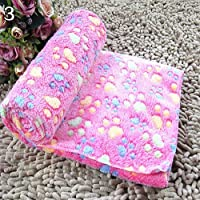 guohanfsh Pet Blanket Soft Warm Animals Footprints Puppy Bed Mat for Dogs Cats Kittens Rose Red 60cm by 40cm