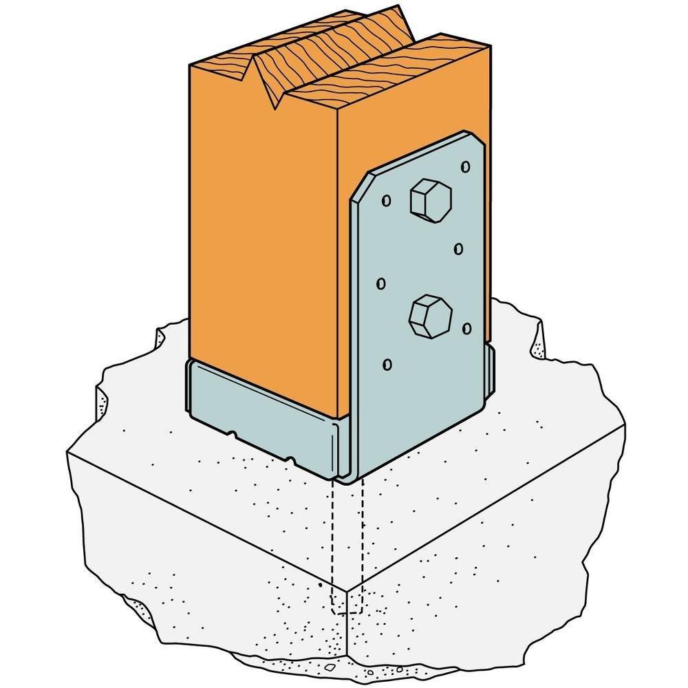 Simpson Strong Tie ABU44Z ZMAX Galvanized 16-Gauge 4x4 Adjustable Post Base 12-per box