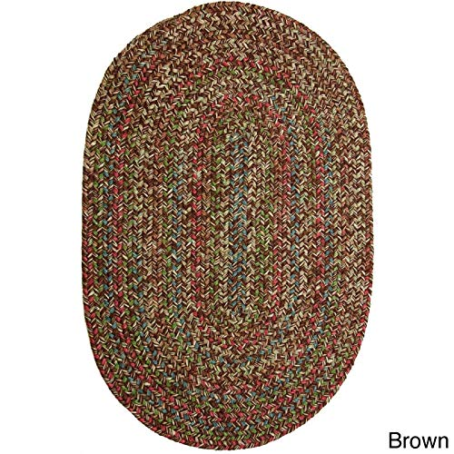Sonya Indoor/Outdoor Oval Reversible Braided Rug, 7 by 9-Feet, Brown Multicolor (Braided Oval Rugs 7x9)