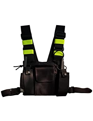 Lewong Universal Hands Free Chest Harness Bag Holster for Two Way Radio (Rescue Essentials) (Black and Fluorescent Green) (Color: Black and fluorescent green)