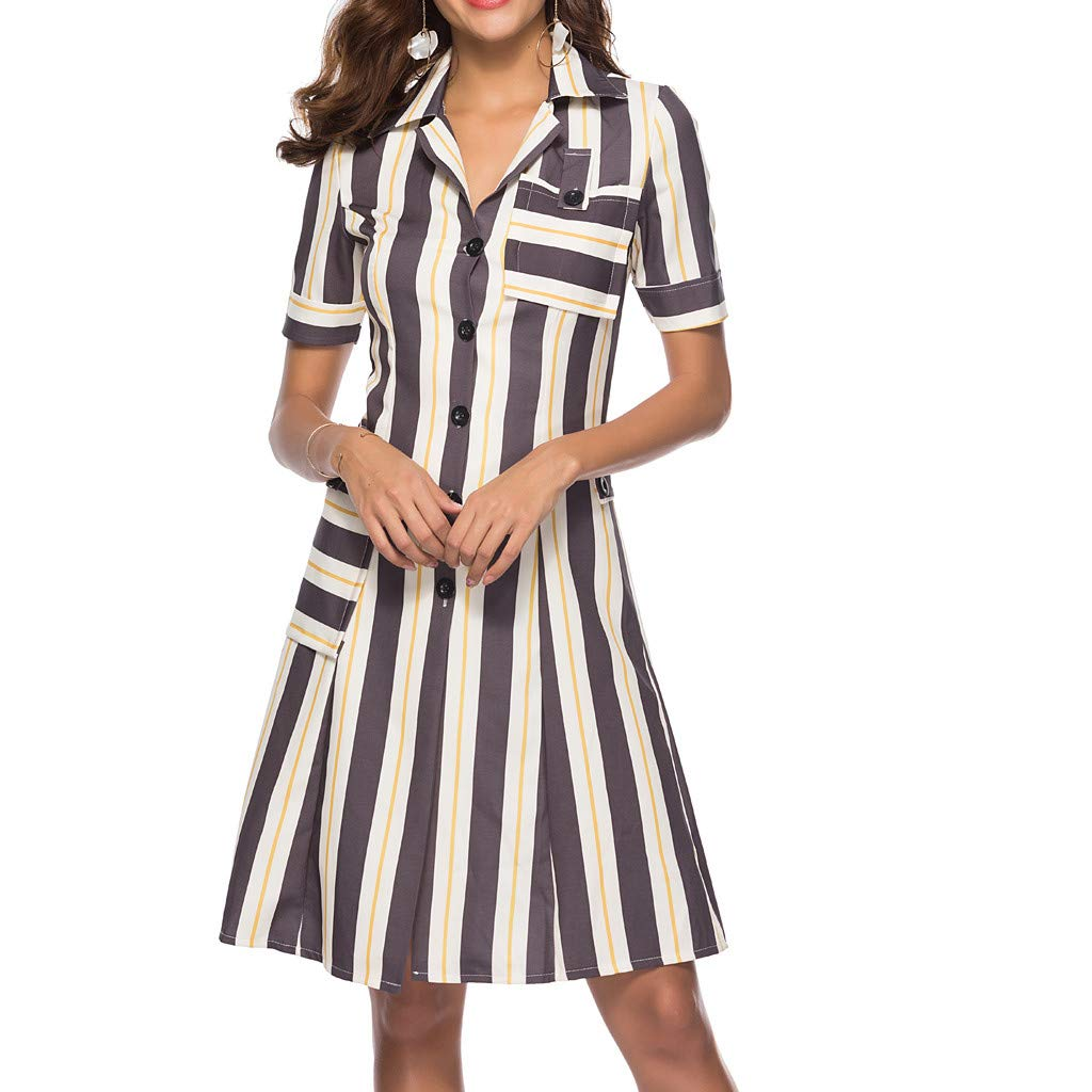 Mikilon Womens Summer Button Down Collar Short Sleeve Stripe Casual Midi Dress with Pocket Gray