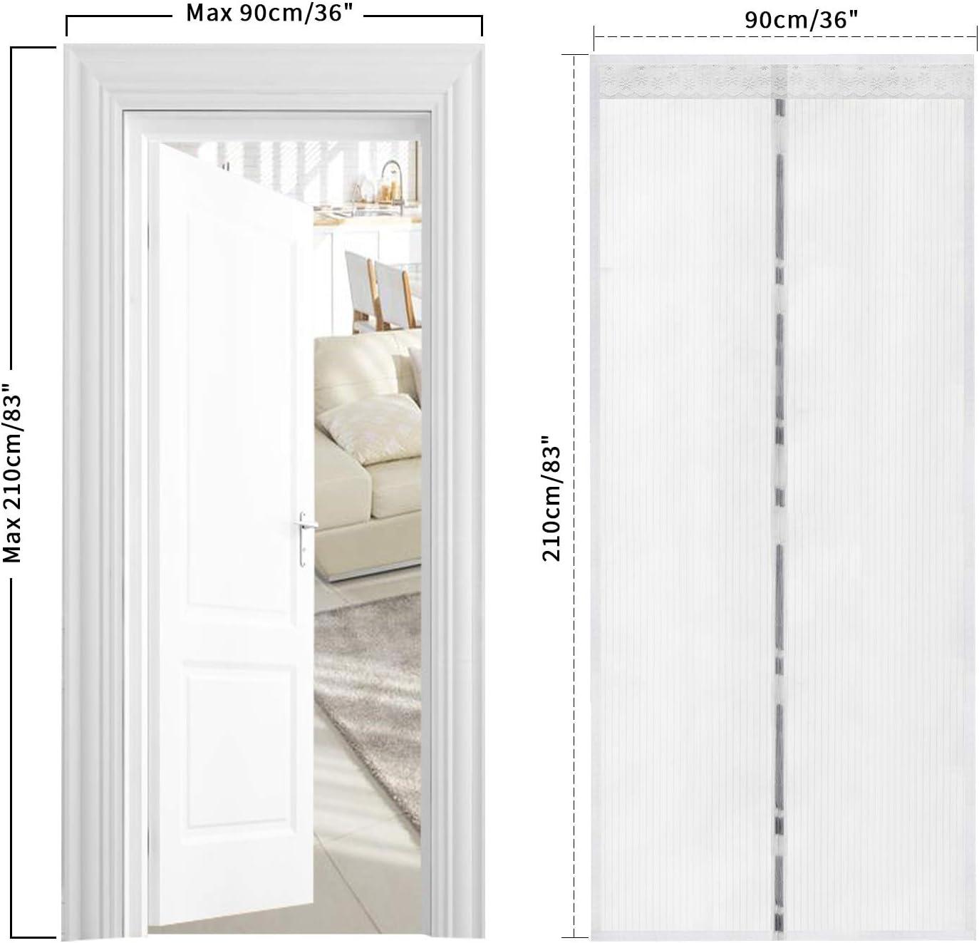 TSYMO mosquitera magnética para puerta mosquitera, mosquitos, insectos, cortina de malla, se adapta a aberturas de puerta de hasta 90 x 210 cm: Amazon.es: Bricolaje y herramientas