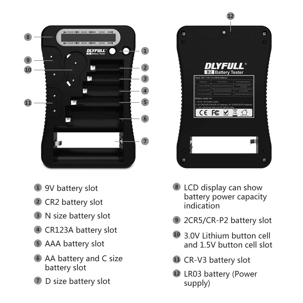 2CR5 CRP2 and 1.5V//3V Button Cell Batteries Multi-Purpose Household Battery Checker with LCD Display for AA CR123A C CR2 9V CRV3 Battery Tester AAA D
