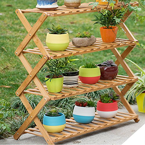 Magshion FOLDSHELF-01 Pot Plant Stand 4 Tier Flower Planter Rack Shelf Shelves Organizer Ga, 27.5' W x 29' H x 11.8' D
