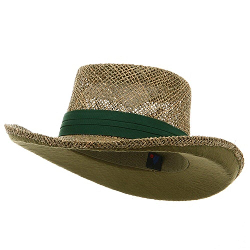 Dk Green Band Gambler Straw Hat