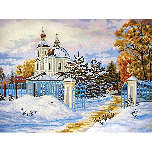 Collection D'Art Magic Tsaritsino Printed Tapestry Mountain Cascades, 40 Cross Stitches per 10 cm, Canvas Size 40×50 cm, 40 x 50 x 0.1 cm, Brown