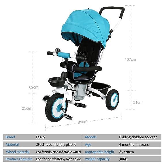 Fascol Triciclo Plegable Multifuncional 4 en 1 Bicicleta de Tres Ruedas para Niños 6 Meses a 5 Años Carga de 30 kg (Azul): Amazon.es: Deportes y aire libre