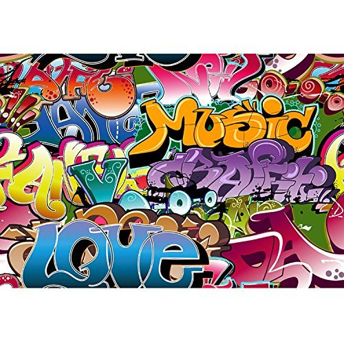 (KonPon 5x7ft Silk Cloth Graffiti Photography Backdrops Photo Props Studio Background)