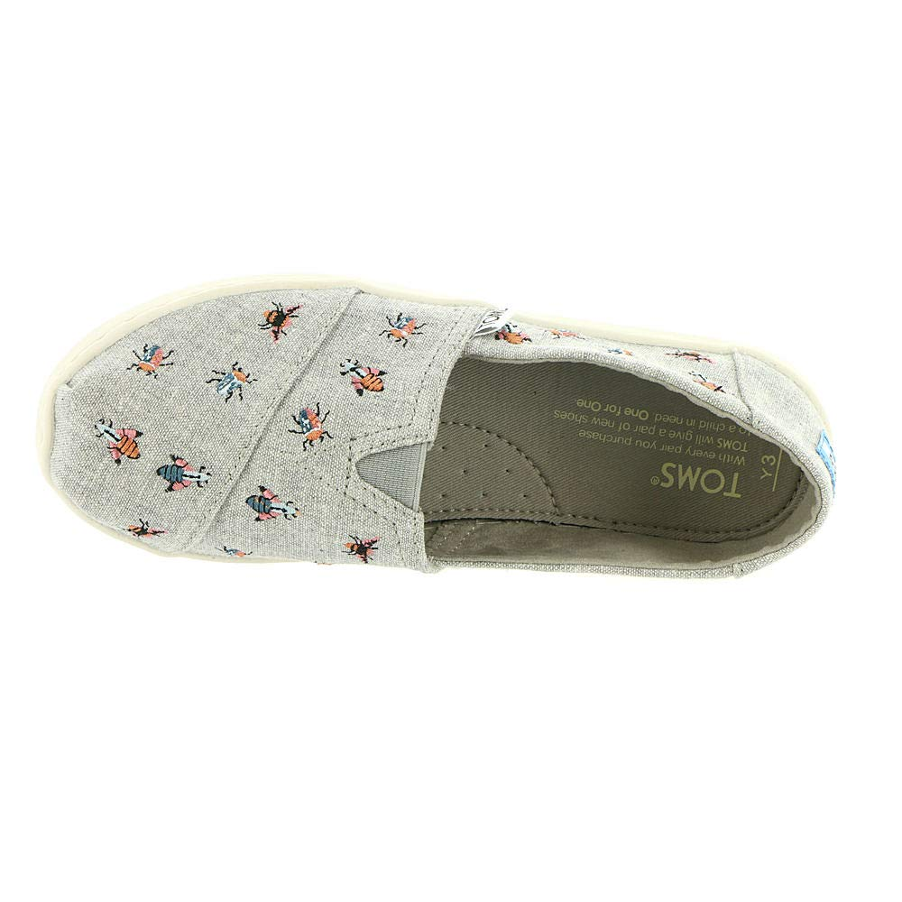 272f5938faf Amazon.com  TOMS Kids Girl s Alpargata (Little Kid Big Kid) Drizzle Grey  Embroidered Bugs 1.5 M US Little Kid  Shoes