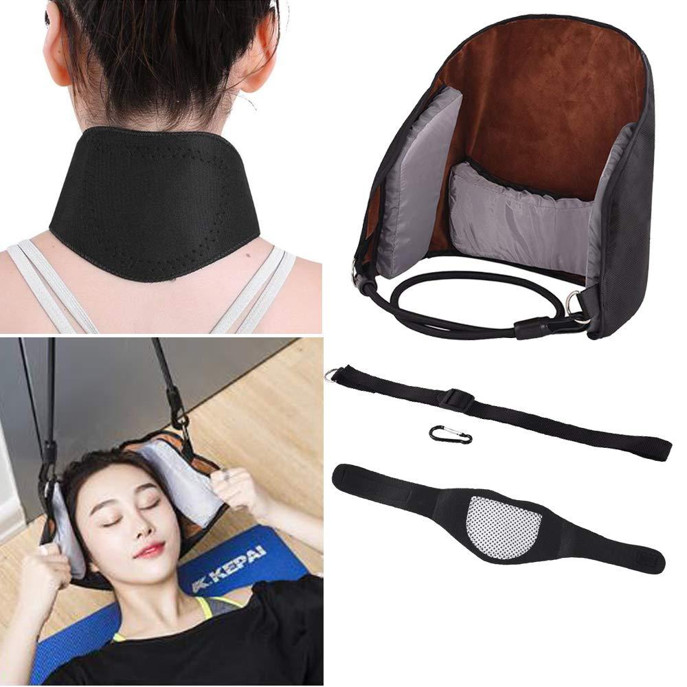Fortspang, Amaca massaggiante Portatile per Il Collo, per alleviare Il Dolore, Dispositivo di trazione Regolabile + Cuscinetto massaggiante per Il Collo