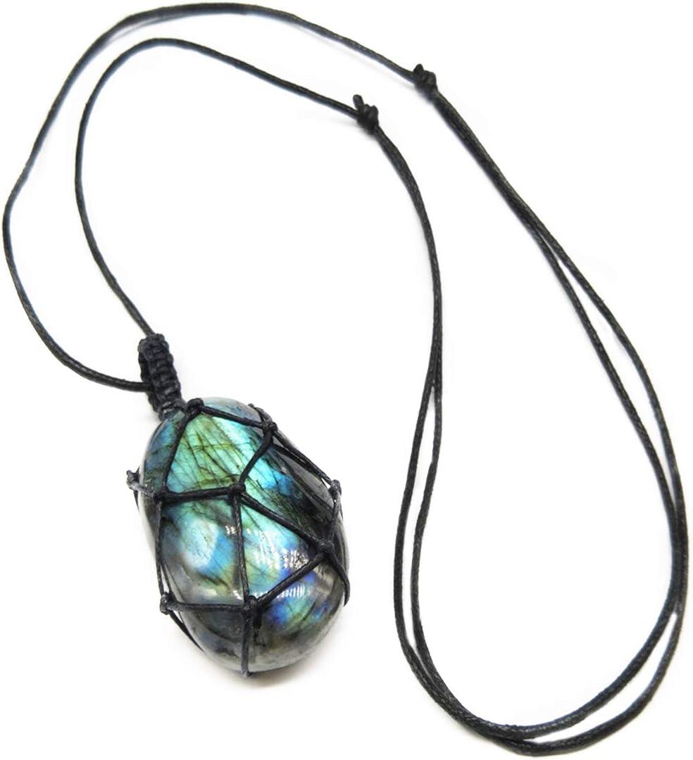 YGMONER Nature Stone Car Rearview Mirror Pendant, Moonstone Crystal Labradorite Healing Stone Car Charm Hanging Pendant
