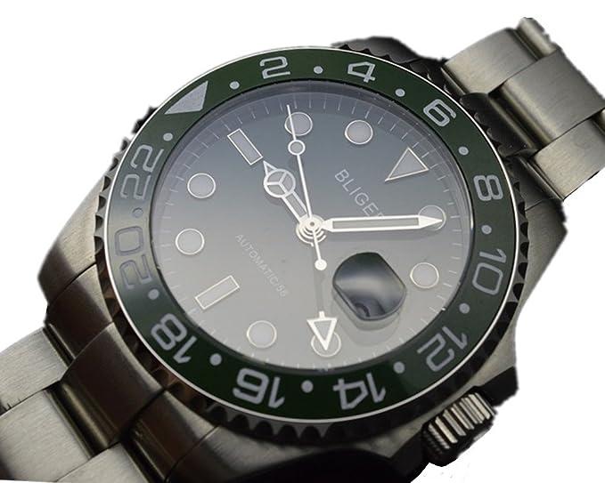 PARNIS 47 mm GMT verde Dial Automático viento mecánica reloj bisel de cerámica de reloj militar: Amazon.es: Relojes