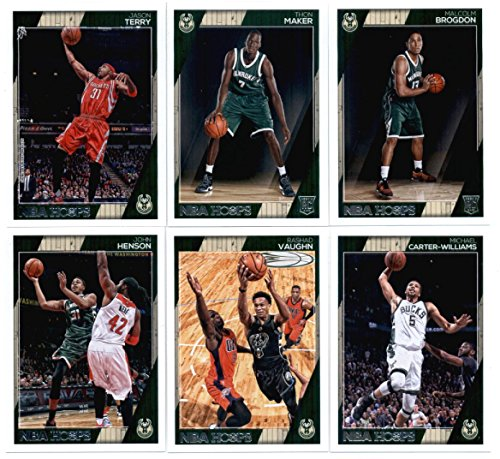 2016-17 Panini NBA Hoops Milwaukee Bucks Team Set of 12 Cards: Giannis Antetokounmpo(#6), Jabari Parker(#7), Khris Middleton(#8), Greg Monroe(#9), Tyler Ennis(#10), Matthew Dellavedova(#21), John Henson(#164), Rashad Vaughn(#165), Michael Carter-Williams(#166), Jason Terry(#231), Thon Maker(#270), Malcolm Brogdon(#291) (Parker Autographed Card)
