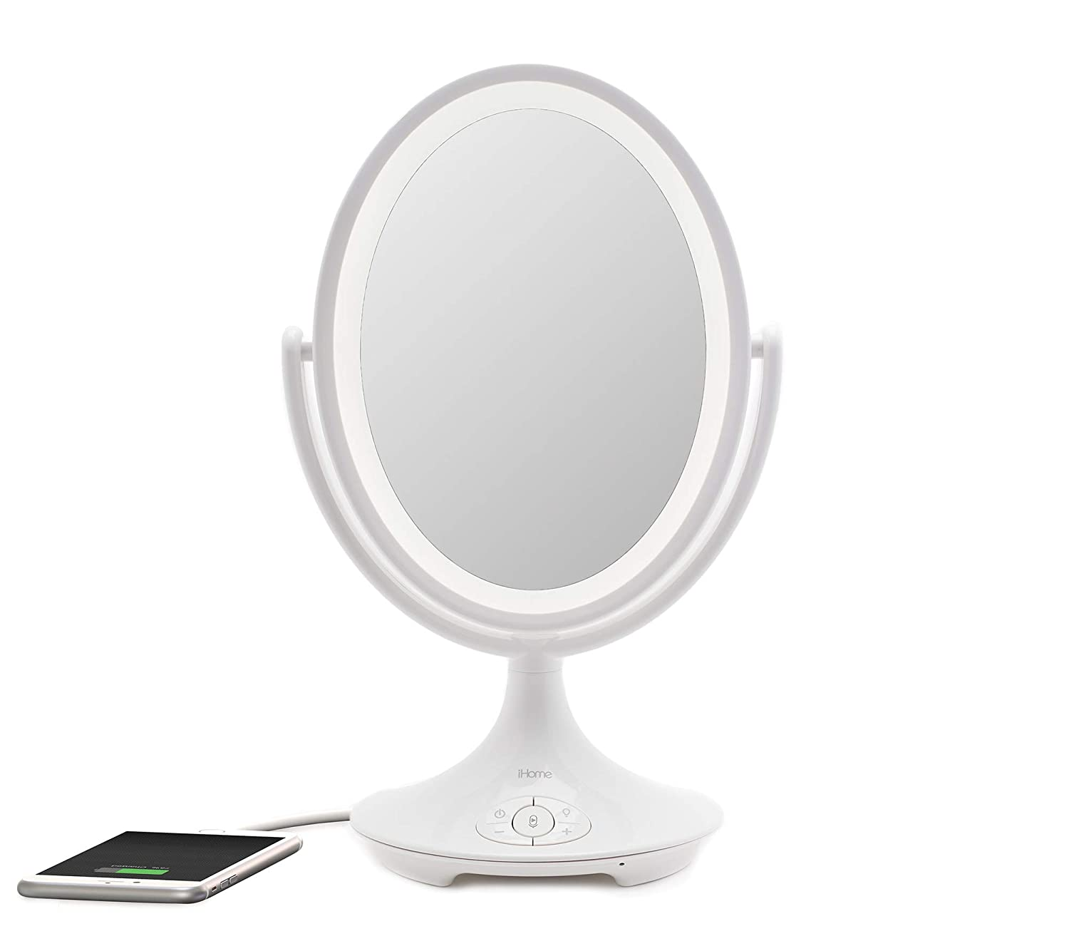 """iHome Magnify Vanity Mirror iCVBT6 6"""" Double-Sided Vanity Mirror, Makeup Mirror LED with Bluetooth Audio/Speakerphone and USB Charging"""