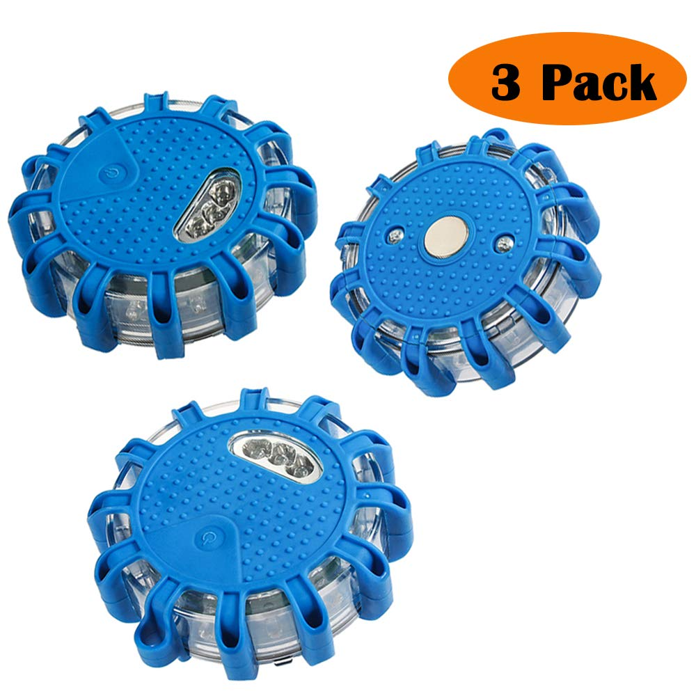 Warning Light, Roadside Flare Flashing Outdoor Safety Emergency LED Light for Car Truck Boat with Magnetic Base Disc Beacon (Pack of 3) (Blue) AnnBay