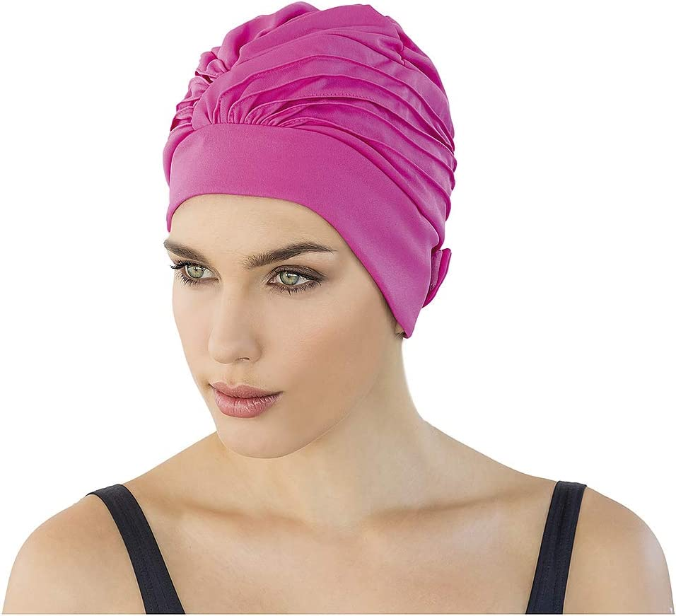 Fashy 3473 Turban de Natation en Tissu avec Bande Velcro pour Femme