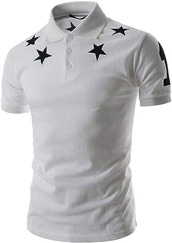 Hombre Casual De Los De Verano Estrellas Simples Diseño Impreso Chic Hombres De Manga Corta Camiseta De Los Camiseta Slim Fit Collar Top D609: Amazon.es: Ropa y accesorios