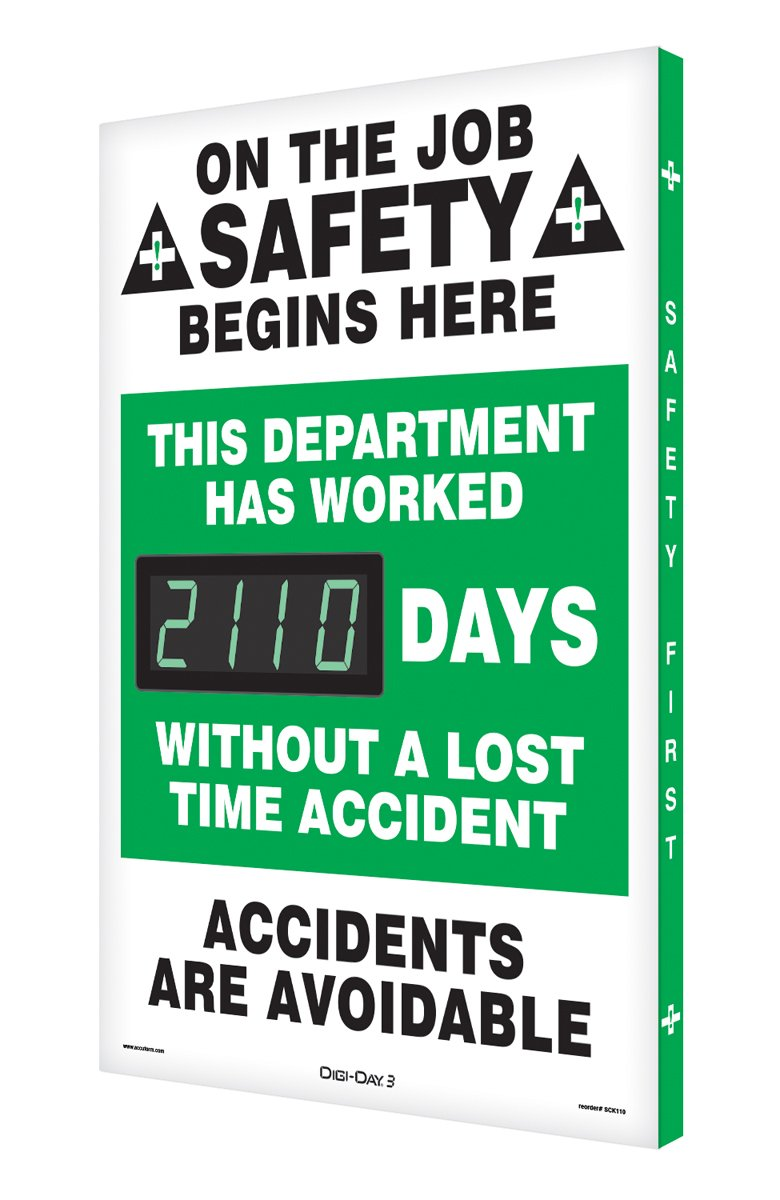 SCK110 Aluminum Digi-Day2 Electronic Safety Scoreboard,''ON THE JOB SAFETY BEGINS HERE - ACCIDENTS ARE AVOIDABLE''