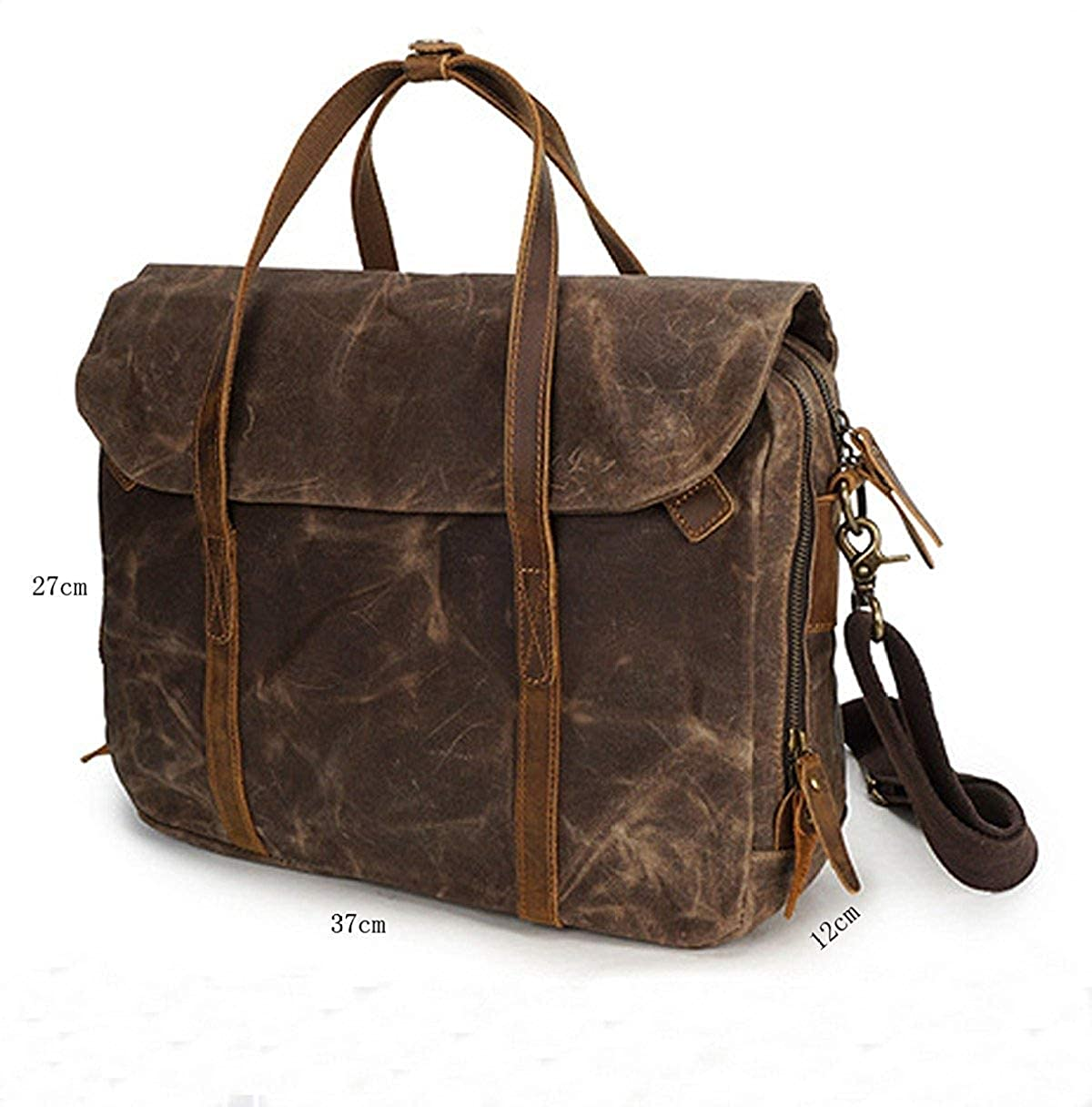 Color : Green, Size : Large FYH Men Essential Upmarket Retro Large Capacity Oil Wax Canvas Handcarry Bag Business Satchel Multicolor Handbag