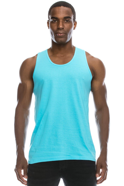 JC DISTRO Mens Hipster Hip Hop Basic Running Solid Pacific Blue Tank Top Medium