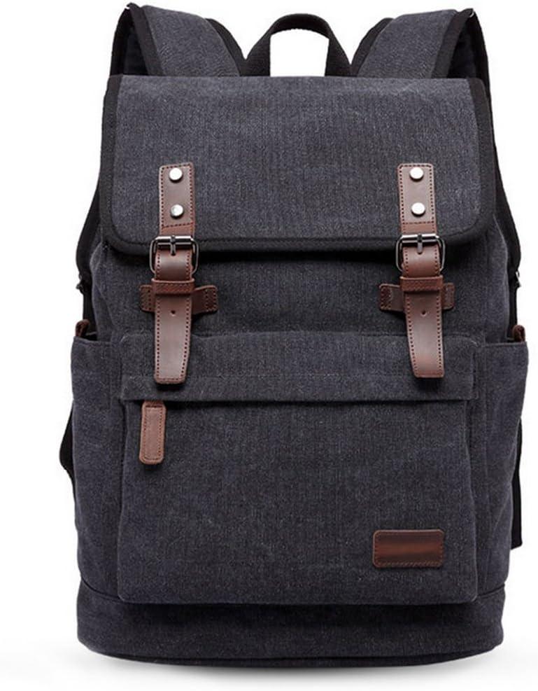 JFA Canvas Laptop Backpack Genuine Leather Multifunction Large School Bag Travel Hiking Rucksack