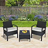 Outsunny 3PC Rattan Bistro Set Outdoor Wicker Sofa Chair Coffee Table Set Garden Patio Furniture w/Cushion - Brown