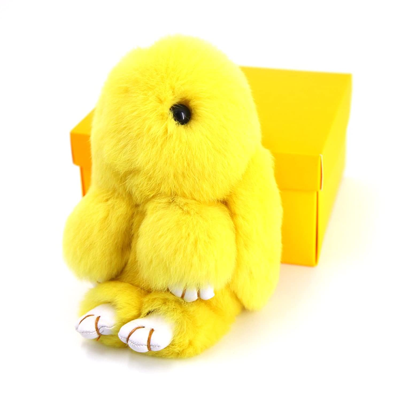 MMFur Real Rabbit Fur Doll Keychain Womens Bag Charms or Car Pendant Key Chain Yellow