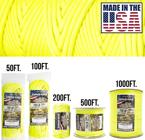 TOUGH-GRID 750lb Neon Yellow Paracord/Parachute Cord - Genuine Mil Spec Type IV 750lb Paracord Used by The US Military (MIl-C-5040-H) - 100% Nylon - Made in The USA. 100Ft. - - Military Grade Water Gun