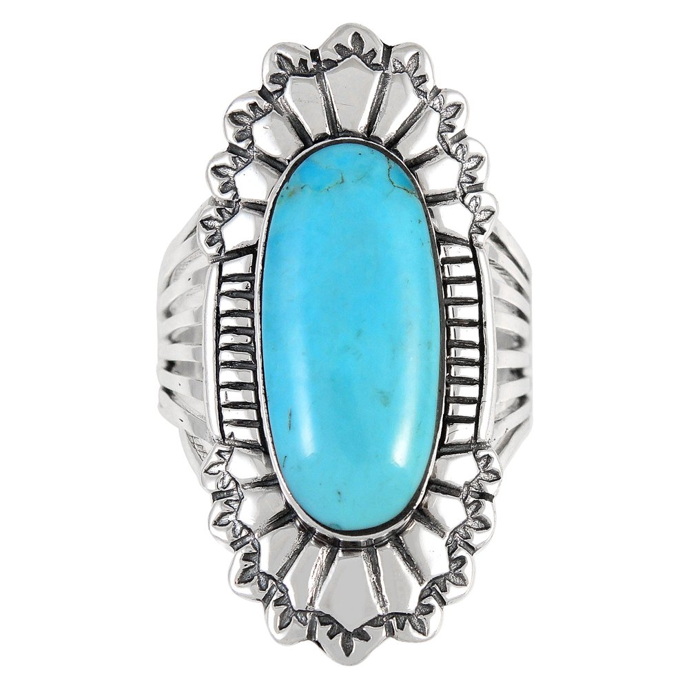 Sterling Silver 925 Genuine Turquoise Ring (10) by Turquoise Network (Image #2)