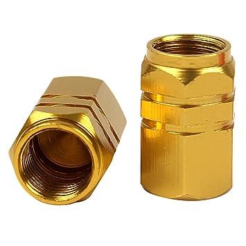 Tapones de válvula de neumático para motor de coche, aleación de aluminio, para llantas de rueda de coche, color dorado: Amazon.es: Coche y moto