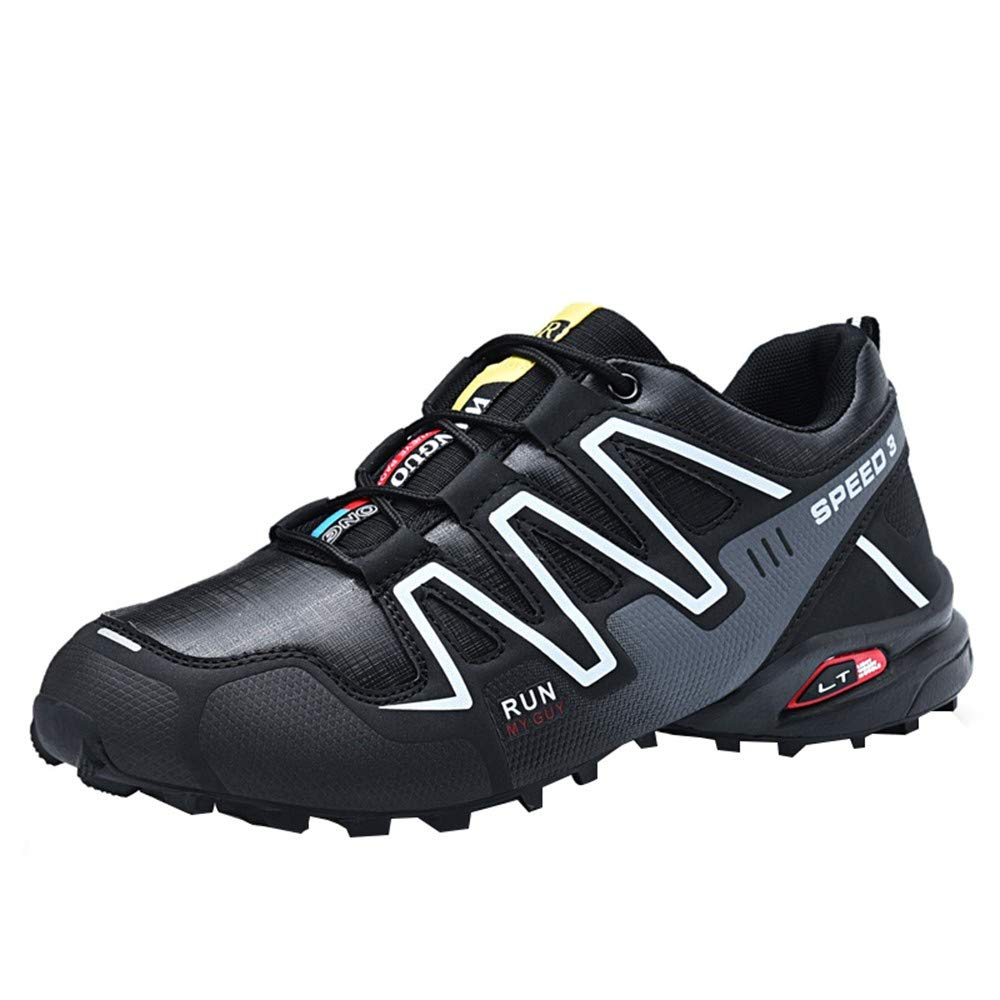 Mysky Fashion Men Casual Mixed Color Comfortable Outdoor Hiking Shoes Men Brief Lace Up Athletic Running Sneakers