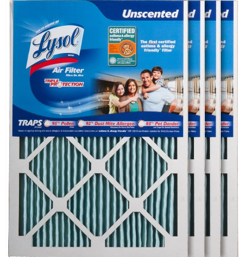 Lysol Triple Protection Furnace/AC Air Filter, 15-Inch x 20-Inch x 1-Inch, 4-Pack