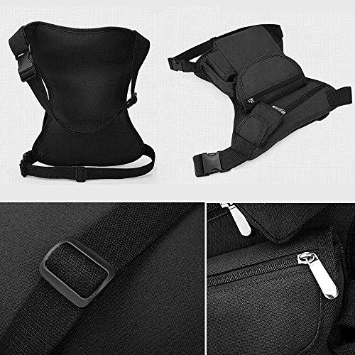 Canvas Drop Leg Bag Sports Racing Waist Bag Pack for Hiking Cycling Vacation Black by Groupcow (Image #1)