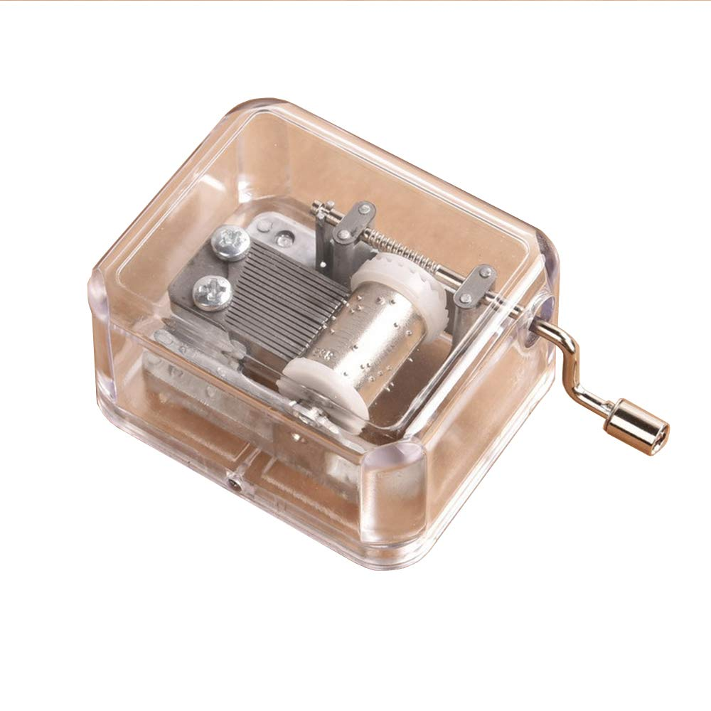Unique Transparent Acrylic Hand Crank Mechanism Music Box,Craft DIY Music Box Movement,DIY Make Your Music Tool Kit