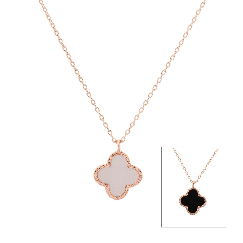 06062fa36a19e Buy Aaishwarya Reversible Black and White Clover Rose Gold Pendant ...
